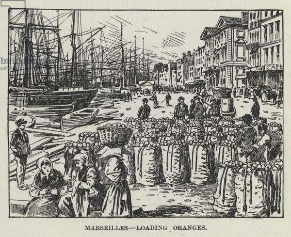 Marseilles, Loading Oranges (litho)