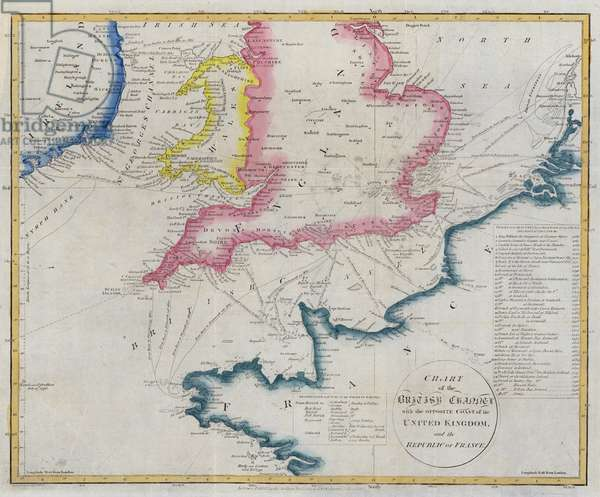 Chart of the English Channel (coloured engraving)