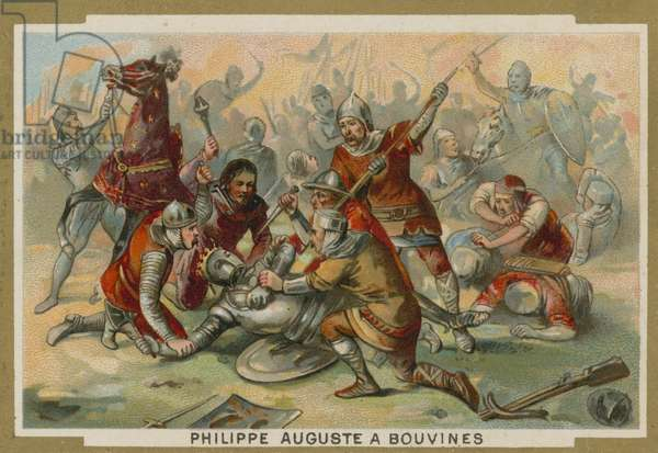 Philip Augustus of France unhorsed at the Battle of Bouvines, 1214 (chromolitho)