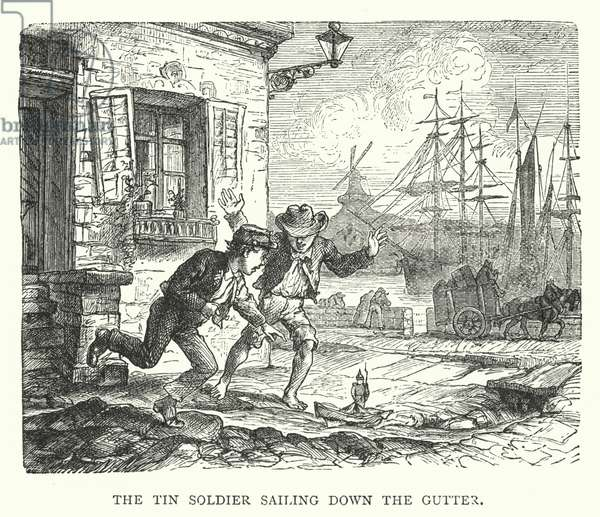 The Tin Soldier sailing down the Gutter (engraving)