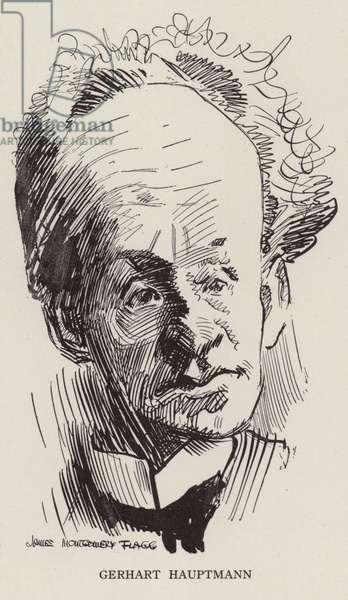 Gerhart Hauptmann, German novelist and dramatist (litho)