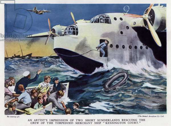 Two British RAF Short Sunderland flying boats rescuing the crew of the merchant ship Kensington Court, torpedoed and sunk by German U-boat U-32, World War II, 18 September 1939 (colour litho)