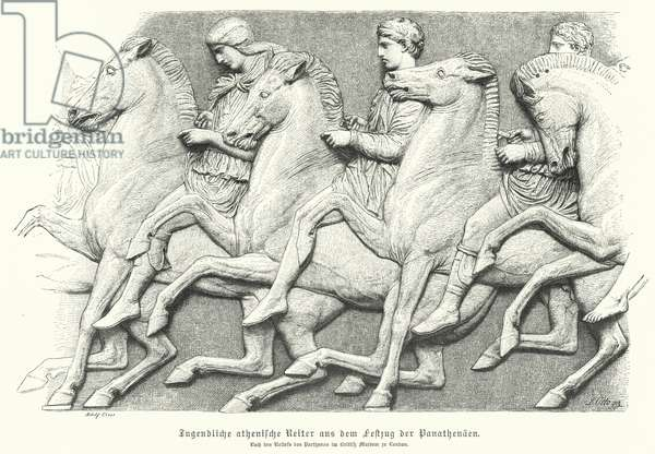 Relief from the Parthenon frieze depicting Athenian youths riding horses (engraving)