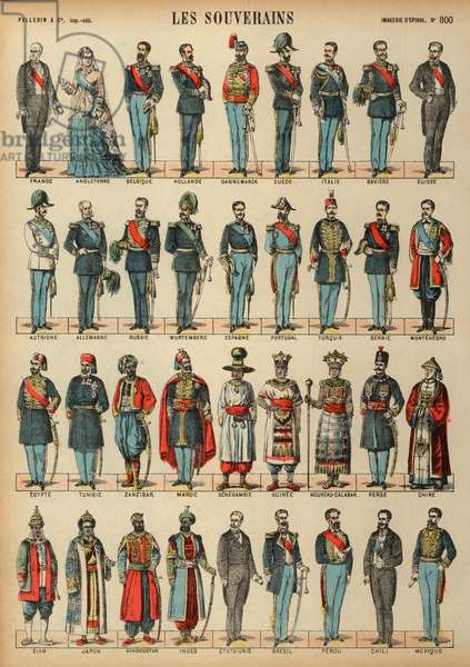 Monarchs of the World (coloured engraving)