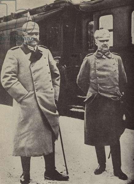 Erich Ludendorff and Paul von Hindenburg, German Army commanders (colour litho)