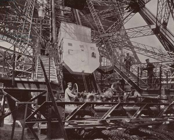 Paris: Machinery and Lift of the Eiffel Tower (b/w photo)