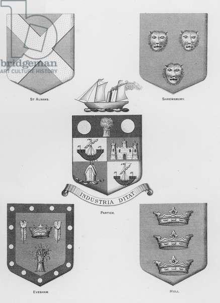 Public arms: St Albans; Shrewsbury; Partick; Evesham; Hull (engraving)