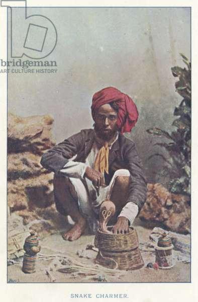 Indian Natives: Snake Charmer (coloured photo)