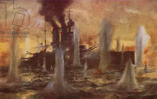 Battle of Jutland, World War I, 1916 (colour litho)