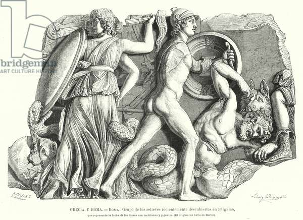 Battle between the Gods and Titans and giants, Ancient Greek relief from Pergamon (litho)