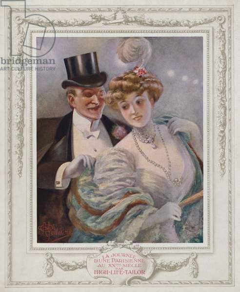 Belle Epoque Paris, Fashionable lady with her admirer (colour litho)