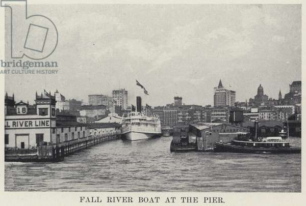 Fall River Boat at the Pier (b/w photo)