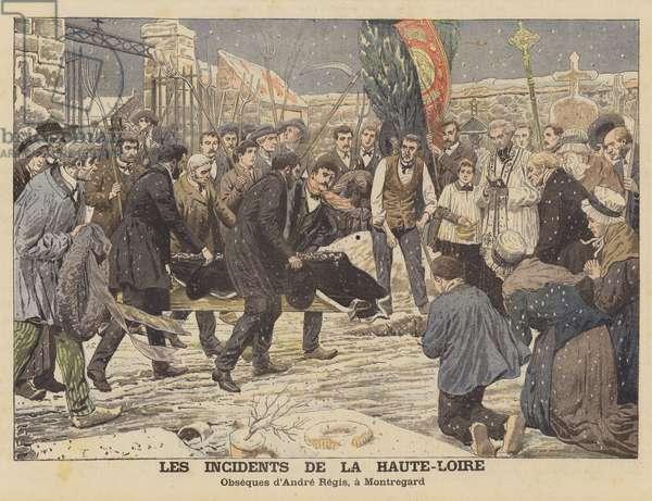 The troubles in the departement of Haute-Loire, France (colour litho)