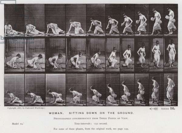 The Human Figure in Motion: Woman, sitting down on the ground (b/w photo)