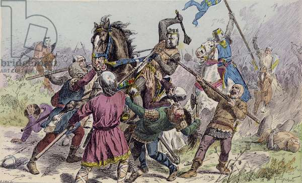 Philip Augustus at the Battle of Bouvines, 1214 (colour litho)