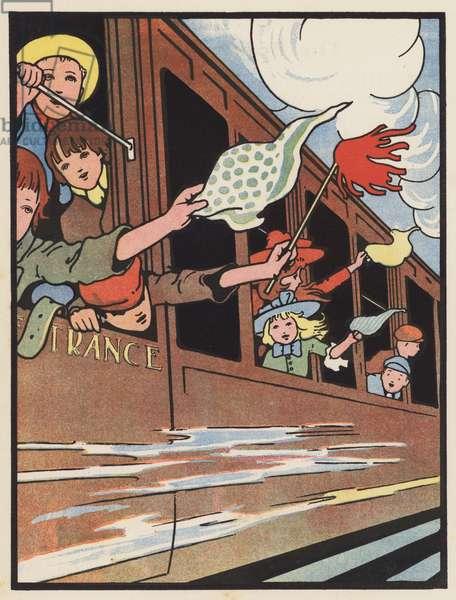 The Children's Excursion Train (colour litho)