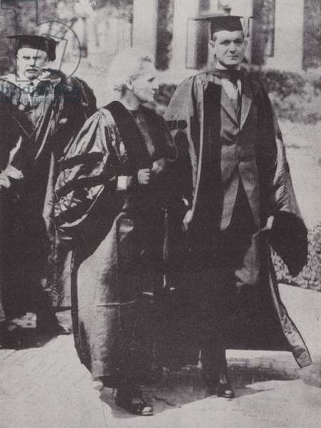 Marie Curie with Dean Pegram, Dean of the School of Engineering at Columbia University, 1921 (b/w photo)