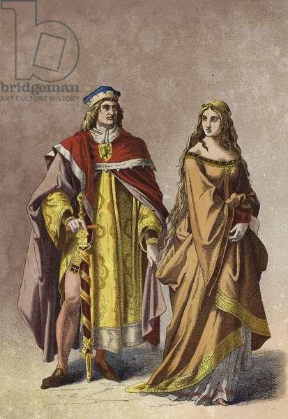European noble lady and gentleman, 14th Century (chromolitho)