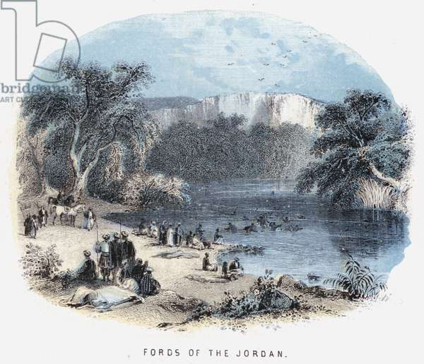 Fords of the Jordan (coloured engraving)