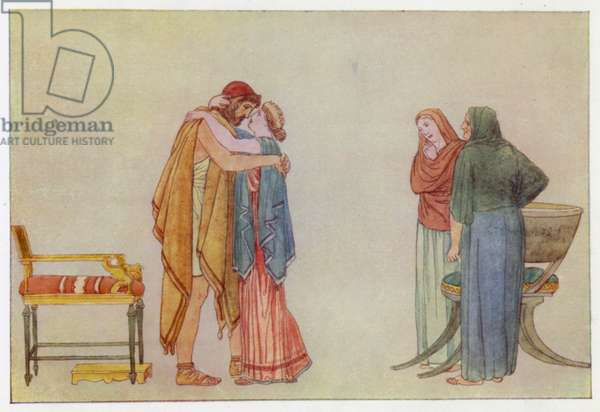 The Meeting of Ulysses and Penelope (colour litho)