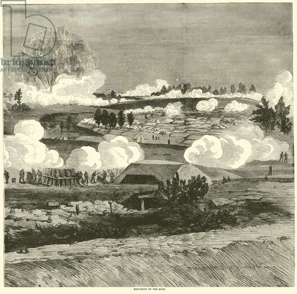 Explosion of the mine, July 1864 (engraving)