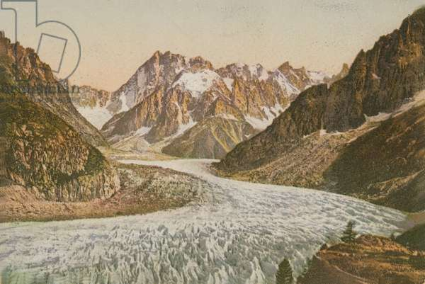 Scenic view of mountains and glacier. Postcard sent in 1913.