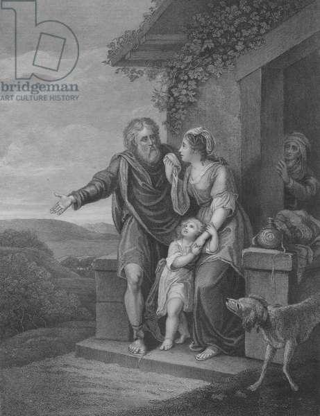 The Departure of Hagar, Genesis 21, Verse 9-15 (engraving)