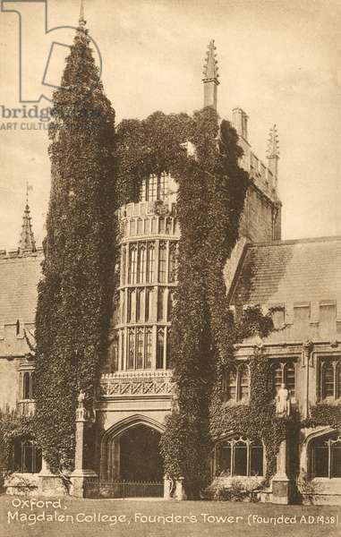 Oxford, Magdalen College, Founder's Tower (b/w photo)