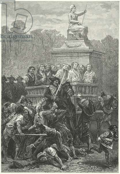 A tumbril full of prisoners on its way to the guiilotine, French Revolution (engraving)
