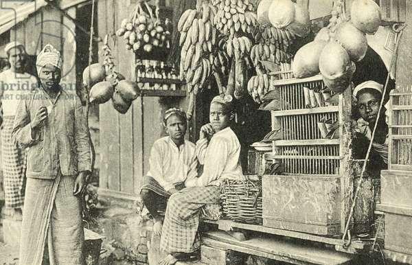 Stall selling bananas (b/w photo)