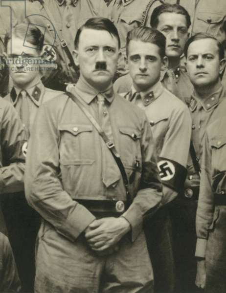 German Nazi leader Adolf Hitler with students of the Fuhrerschule (b/w photo)