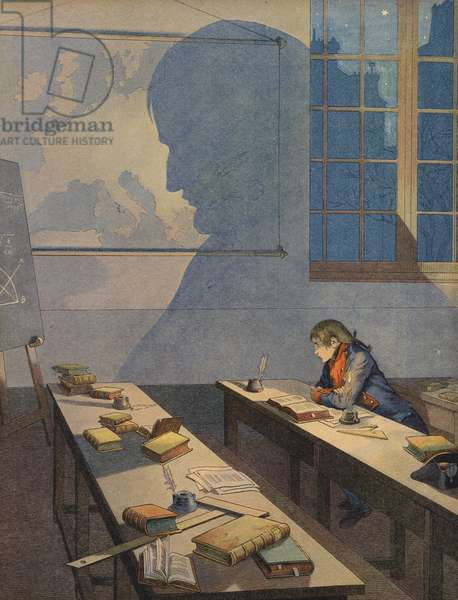The young Napoleon Bonaparte studying (colour litho)