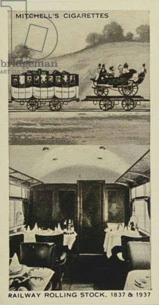 Wonderful Century, 1837-1937: Railway Rolling Stock, 1st Class, 1837, 1st Class Dining Car, 1937 (litho)