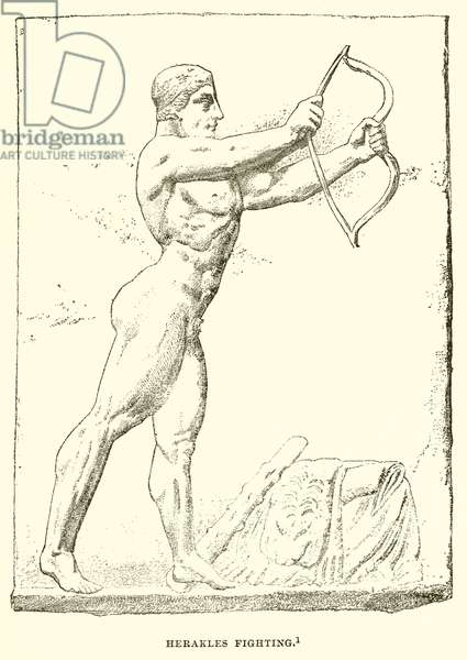 Herakles fighting (engraving)