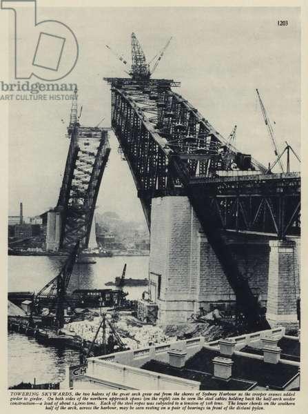 The Sydney Harbour Bridge under construction, New South Wales, Australia, 1929-1930 (b/w photo)
