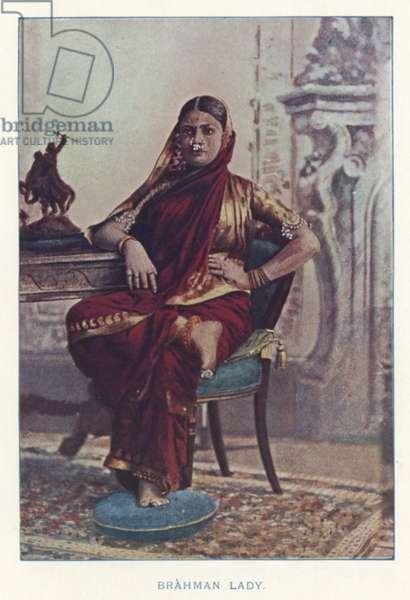 Indian Natives: Brahman Lady (coloured photo)