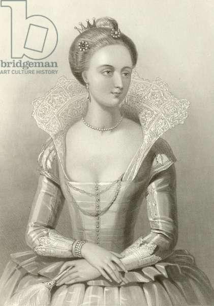 Anne of Denmark, queen of king James I (engraving)
