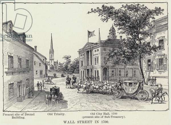 Wall Street in 1700 (litho)