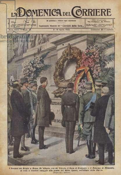 I Sovrani del Belgio a Roma (colour litho)