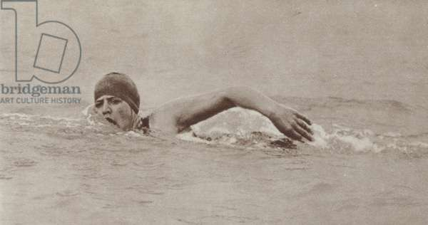 American swimmer Gertrude Ederle, the first woman to successfully swim the English Channel, 1926 (b/w photo)