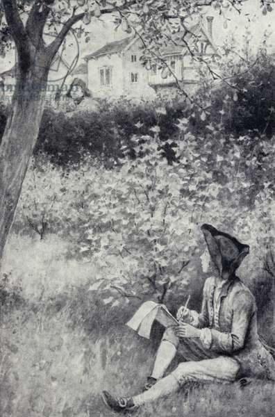 Thomas Gainsborough sketching a man he saw about to steal a pear in an orchard (litho)