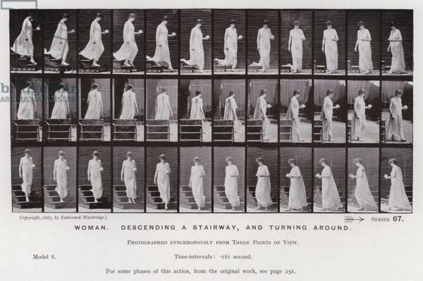 The Human Figure in Motion: Woman, descending a stairway, and turning around (b/w photo)