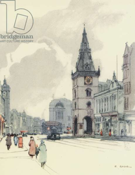 Glasgow: The Tolbooth and the Tron Steeple (colour litho)
