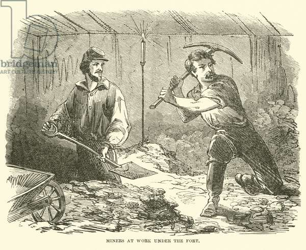 Miners at work under the fort, June 1863 (engraving)