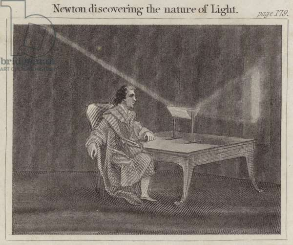 Newton discovering the nature of Light (engraving)