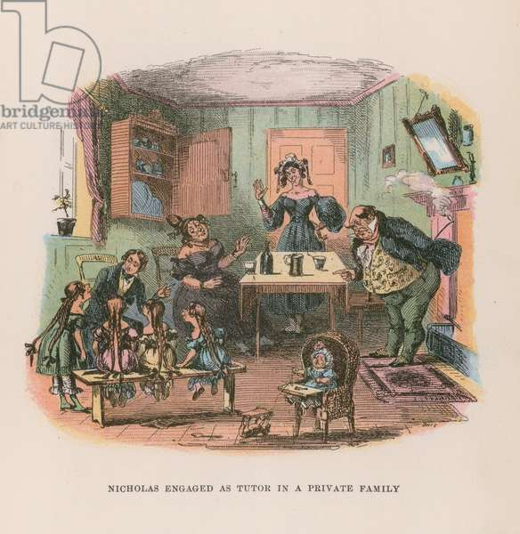 Illustration for Nicholas Nickleby (colour litho)