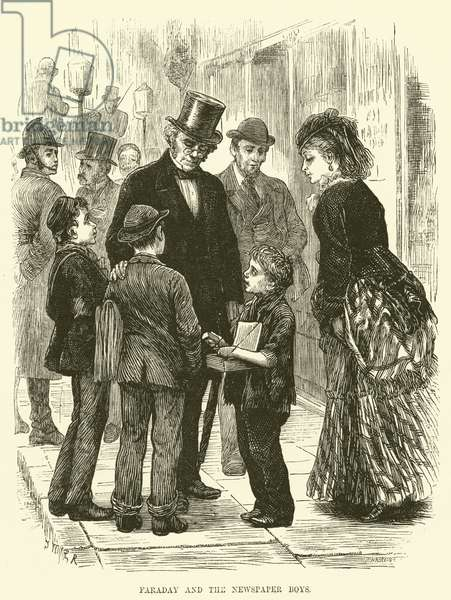 Faraday and the newspaper boys (engraving)