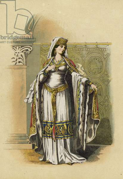 Noblewoman of the time of the Emperor Frederick Barbarossa, second half of 12th Century (chromolitho)