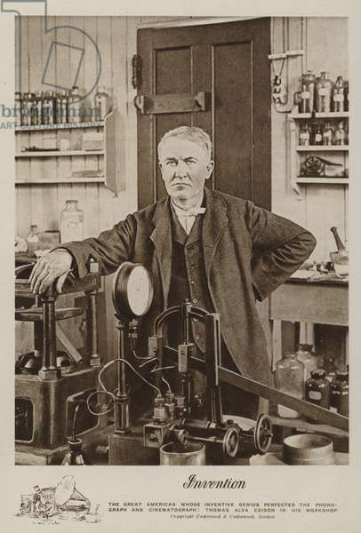 Invention, Thomas Alva Edison in his workshop (b/w photo)