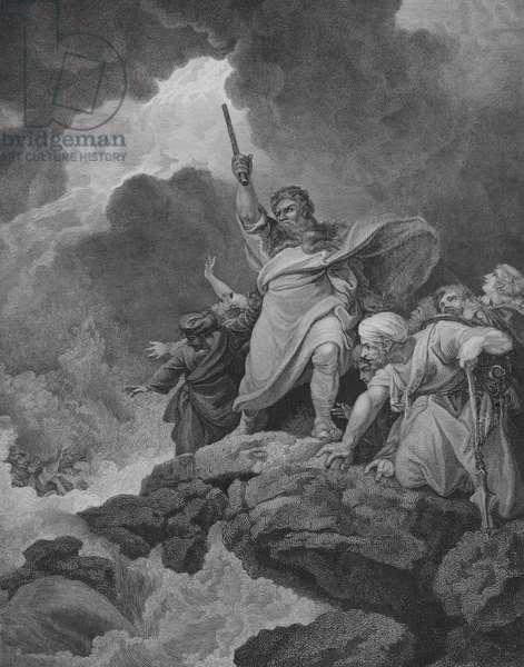 The Destruction of Pharoah's Host, Exodus 14, Verse 19-31 (engraving)
